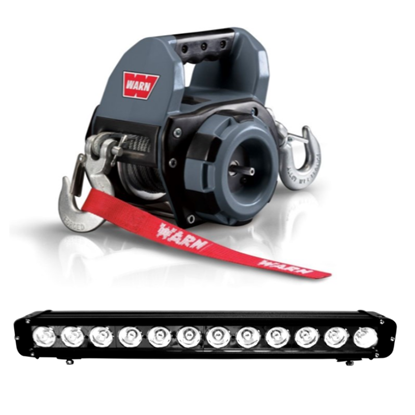 Picture of WARN DRILL WINCH 250KG PLUS FREE 120W LED LIGHT BAR COMBO